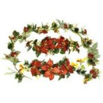 "6' New X'Mas Garland with Rose<br>28"" Large Velvet Poinsettia Hydrangea Swag"