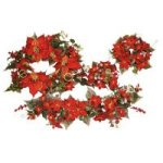 "12"" Dry Straws Poinsettia Wreath<br>3"" & 6"" Candle Ring, 30"" Swag"